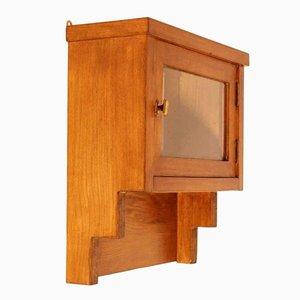Vetrina da parete o mobiletto da farmacia Art Déco in legno di quercia e cristallo smussato