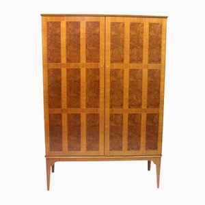 Swedish Elm Root Veneer & Mahogany Checkered Cabinet, 1940s