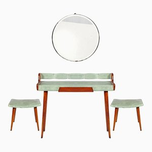 Mid-Century Console Table, Round Beveled Mirror & 2 Stools