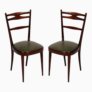 Italian Brown Walnut Side Chairs, 1950s, Set of 2