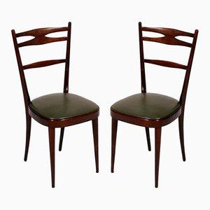 Italienische braune Nussholz Stühle, 1950er, 2er Set