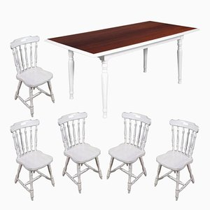 Italian Mid-Century Rectangular Painted White Table & 5 Dining Chairs