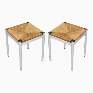 Chromed Steel, Straw & Mahogany Stools, 1950s, Set of 2