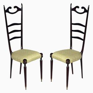 Italienische Mid-Century Mahagoni Chiavari Stühle von Paolo Buffa, 1950er, 2er Set