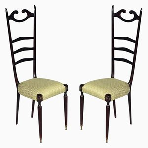 Mid-Century Italian Mahogany Chiavari Chairs by Paolo Buffa, 1950s, Set of 2