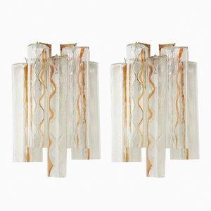 Schleifenförmige Murano Glas Wandlampen von Toni Zuccheri für Venini, 1960er, 2er Set