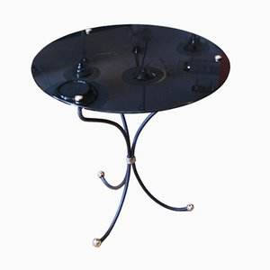 Tripod Side Table with Black Glass Top, 1950s
