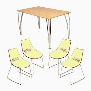 Italienisches Set im modernen Stil mit Tisch von Piero Lissoni & 4 Connubia Stühlen von Calligaris