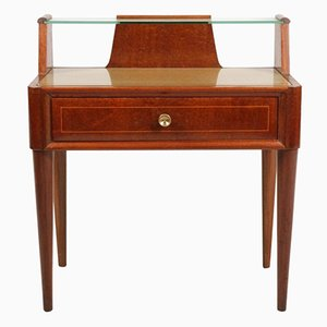 Walnut Nightstand with Crystal Tops, 1940s