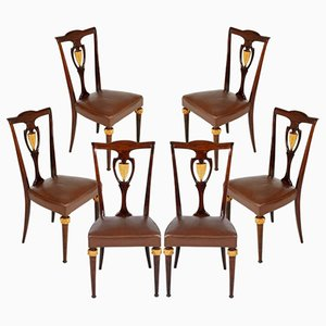 Italian Mahogany & Leather Chairs, Set of 6