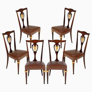 Italienische Stühle aus Mahagoni & Leder, 6er Set