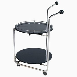 Vintage Chromed-Steel & Lacquered Wood Bar Trolley, 1990s