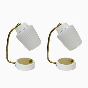 Lámparas de mesita de noche de latón, años 50. Juego de 2