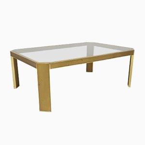 Table Basse Vintage en Laiton et Verre par Peter Ghyczy, 1970s