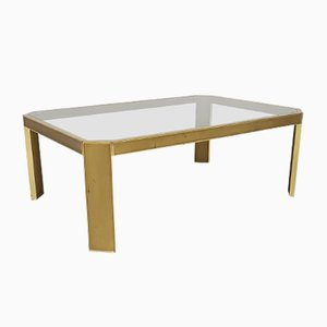 Vintage Brass & Glass Low Coffee Table by Peter Ghyczy, 1970s