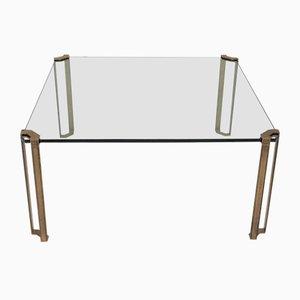 Mesa de salón vintage de vidrio y latón de Peter Ghyczy, años 70