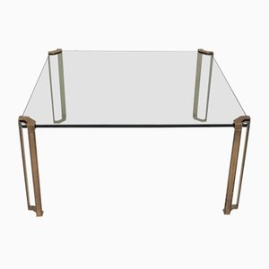 Vintage Brass & Glass Low Table by Peter Ghyczy, 1970s