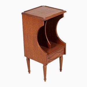 Portariviste o comodino vintage in legno di noce, anni '40