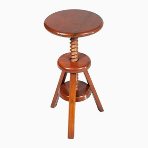 Italian Red Larch Adjustable Tripod Stool, 1930s