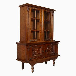 Vintage Spanish Carved Oak Display Cabinet