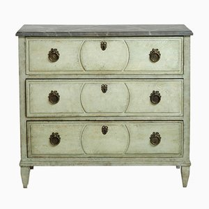 Antique Gustavian Chest of Drawers with Painted Faux Marble Top