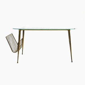 Italian Brass & Glass Triangular Coffee Table, 1950s