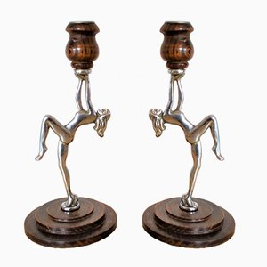 Art Deco Nude Woman Candlesticks in Chrome and Wood, 1930s, Set of 2