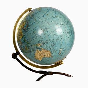 Große beleuchtete Mid-Century Weltkugel aus Glas
