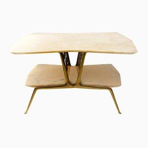 Table Basse en Laiton et Marbre, Italie, 1950s