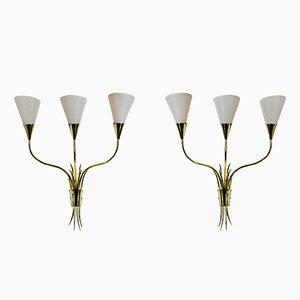 Goldene Mid-Century Messing Wandlampen mit Getreidegarben, 2er Set