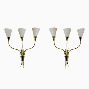 Mid-Century Golden Brass Sheaf Sconces, Set of 2