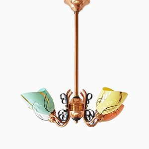 Mid-Century French Copper, Steel & Glass Chandelier, 1950s