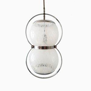 Lámpara de techo italiana Mid-Century de cristal de Murano y metal cromado, años 60