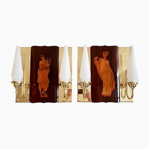 Vintage Marquetry Sconces by Andrea Gusmai, Set of 2