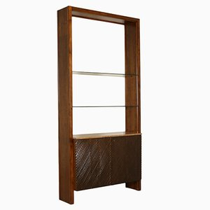 Italian Walnut Veneer, Marble & Glass Bookcase, 1960s