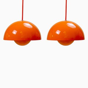 Vintage Flowerpot Pendant Lamps by Verner Panton for Louis Poulsen, Set of 2