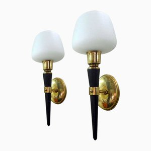 Brass, Wood, & Opaline Glass Sconces, 1950s, Set of 2