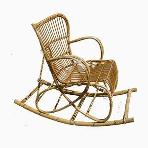 RB2 Bamboo & Rattan Rocking Chair by Dirk van Sliedregt for Rohé Noordwolde, 1960s