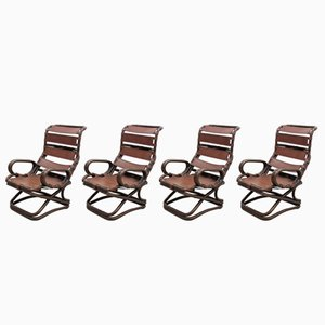 Rattan & Leather Armchairs from Pierantonio Bonacina, Set of 4