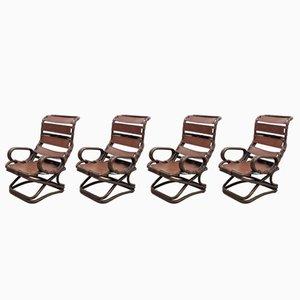 Rattan & Leder Armlehnstühle von Pierantonio Bonacina, 4er Set