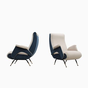 Mid-Century 2-Toned Fabric Armchairs, Set of 2
