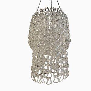 Lámpara de araña vintage grande con ganchos de vidrio