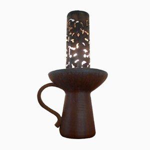 Lámpara de mesa de gres y metal, años 60