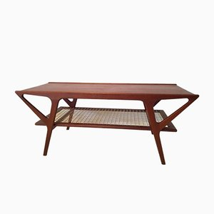Table Basse en Teck avec Pieds Compas, 1960s