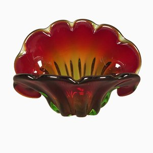 Vintage Red and Green Murano Glass Bowl