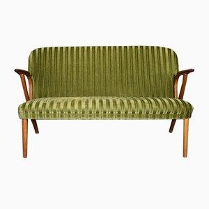 Dänisches grünes Mid-Century Modern 2-Sitzer Teak Sofa, 1960er