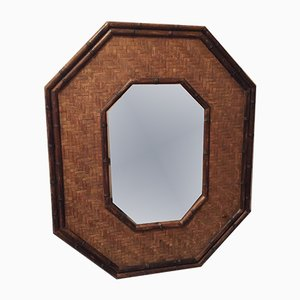 Large Octagonal Mirror in Bamboo & Rattan, 1940s