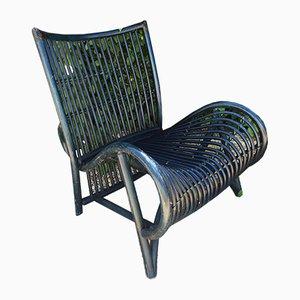 Grande Chaise de Jardin en Rotin Bleu, 1970s