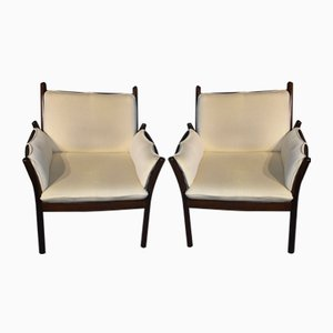 Mahogany Armchairs by Illum Wikkelsø for CFC Silkeborg, 1960s, Set of 2