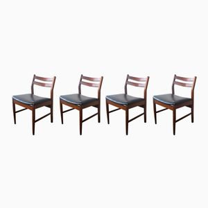 Black Vinyl Dining Chairs, 1970s, Set of 4